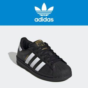 Adidas Superstar Black + Gold - Size 6